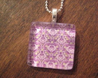 Glass Pendant Necklace, Purple Print Glass Tile Pendant with Silver Chain Necklace