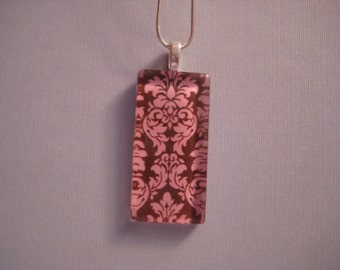 Glass Pendant - Brown and Pink Damask Domino Size Glass Tile Pendant with Silver Chain