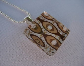 Brown and White Mod Print Glass Tile Pendant with Silver Ball Chain Necklace