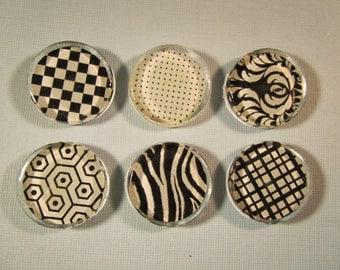 Black and White Fridge Magnets, Black and White Refrigerator Magnets, Regrigerator Magnets, Black and White Magnets, Black White Magnets Set