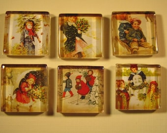 Christmas Decorations Refrigerator Magnets, Set of 6 Fridge Magnets with Storage Tin