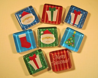 Christmas Decorations Fridge Magnets, Set of 8 Holdiay Refrigerator Magnets with Storage Tin