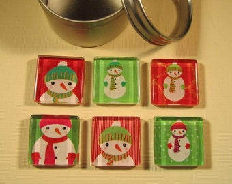 Holiday Decorations Fridge Magnets, Set of 6 Holiday and Winter Refrigerator Magnets with Storage Tin