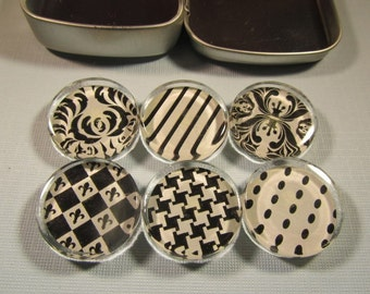 Refrigerator Magnets - Set of 6 Glass Fridge Magnets, Black and White Patterns with Storage Tin