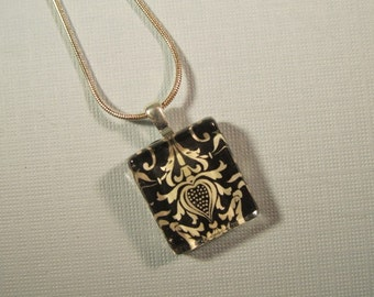 Glass Tile Pendant Necklace, Black and White Damask Necklace with Silver Chain Necklace