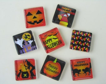 Glass Fridge Magnets - Halloween Decorations, Set of 8 Refrigerator Magnets with Storage Tin