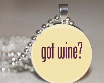 Got Wine Glass Pendant Necklace with Silver Ball Chain Necklace
