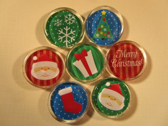 Items similar to christmas decorations fridge magnets set