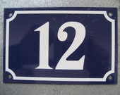 vintage French blue and white enamel house number sign 12