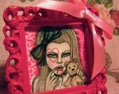 Little Vampy Girl and Sweet Teddy Hand Painted 2.5inx2.5in Original