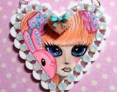 Dal Doll and her Bunny Hand Painted Heart Pendant Necklace