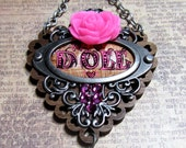 Doll Brass Hand Painted Pendant Necklace