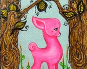 Pink Darling Baby Deer Original Art Painting and Hand Painted Stand