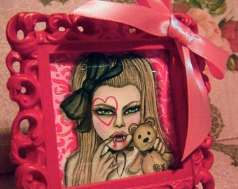 Little Vampy Girl and Sweet Teddy Hand Painted 2.5inx2.5in Original