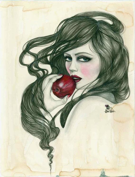 Snow White Original Mixed Media Print