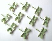 10 Light Green Wedding Collection Dragonflies Embellishments