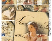 Romantic Vintage Images Digital Collage Sheet - 2.5 x 2.5 Inches