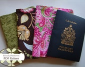 Passport Holder and Credit Card Holder PDF Sewing Pattern for Travel - FREE shipping - By BlissfulPatterns