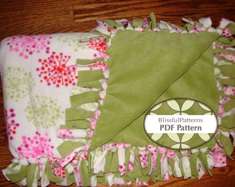 Warm n Cozy One Hour Fleece Blanket PDF Pattern - No Sewing - FREE shipping - by Blissfulpatterns