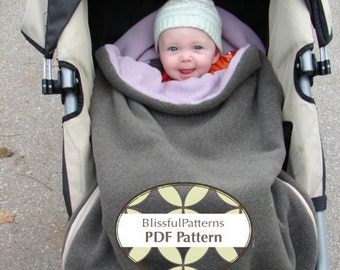 Stroller or Car Seat Bag Warmer PDF Sewing Pattern - Two Sizes - INSTANT DOWNLOAD- by Blissfulpatterns