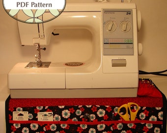 Sewing Machine Organizer PDF SEWING PATTERN -  Multiple Pockets and Pin Cushion - Instant Download by BlissfulPatterns