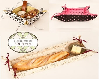 Fabric Basket with Ties PDF Sewing Pattern - FREE Shipping - by BlissfulPatterns