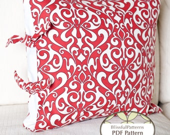 Side Tie Pillow Case - PDF Sewing Pattern - INSTANT DOWNLOAD - By BlissfulPatterns