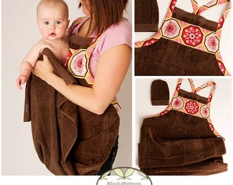 Baby Bath Apron Towel and Mitt PDF SEWING PATTERN - Instant Download -By BlissfulPatterns - Free Shipping