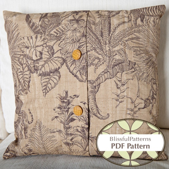 Button Closure Pillow Case - PDF SEWING PATTERN - Instant Download - by BlissfulPatterns