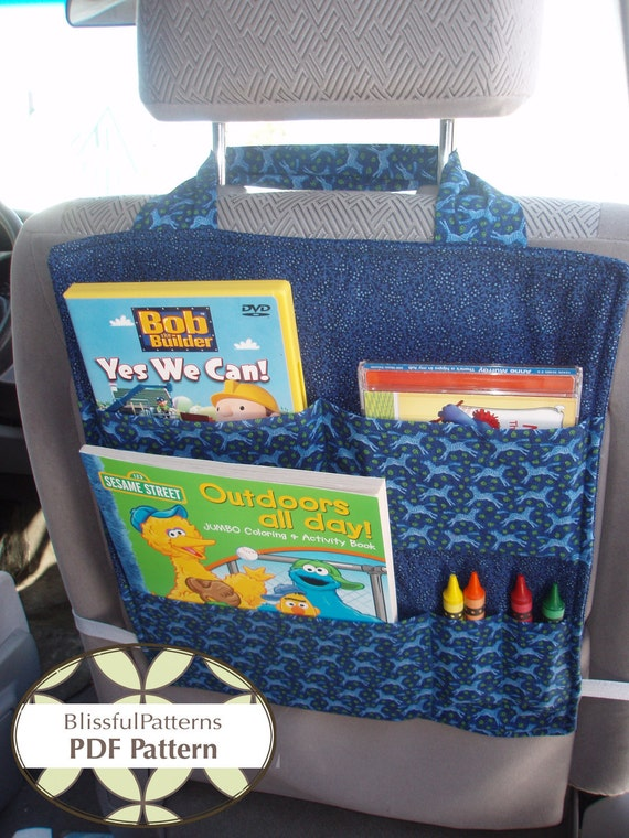 Car Seat Organizer - PDF Sewing Pattern - Organize your Commute and Road Trips - FREE shipping - by BlissfulPatterns
