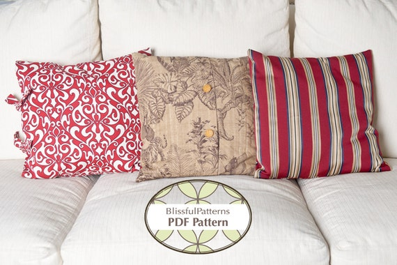 3 Pillow Case Patterns in One - PDF Sewing Pattern - INSTANT DOWNLOAD- By BlissfulPatterns