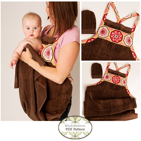 NEW Baby Bath Apron Towel and Mitt PDF Sewing Pattern - By BlissfulPatterns - Free Shipping