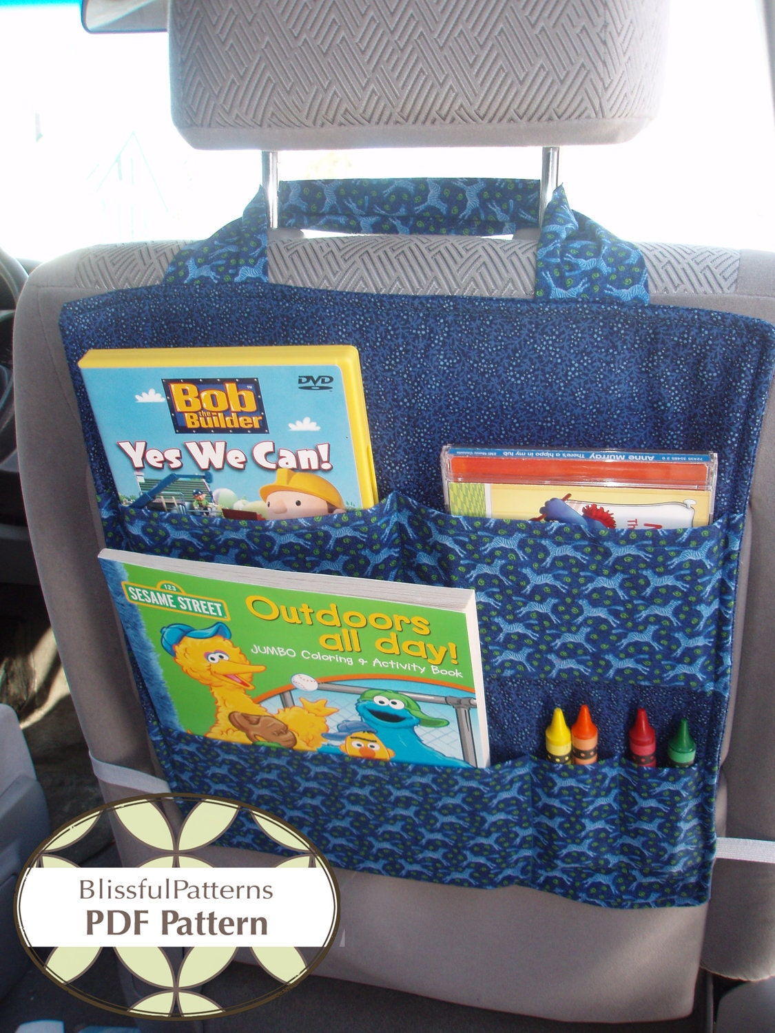 Car Seat Organizer Pdf Sewing Pattern Instant Download By