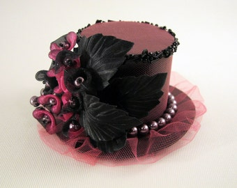 Pink Mini Top Hat Girl or Women Valentine's Photo Prop Tea Party Special Occasion Accessory