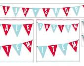 Red and Blue Themed Flag Banner Custom Etsy Banner Set