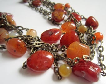 Multi Strand Necklace, Agate Necklace , Natural Necklace, Stone Necklace, Chain Necklace