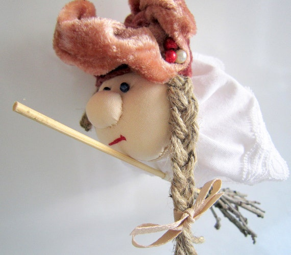 Funky witch, handmade hanging soft cloth doll
