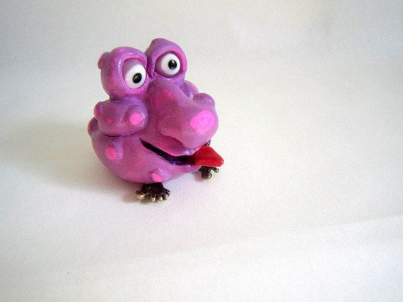 Pink and Purple  Little Dude, Whimsical Creature, Good Luck Charm