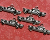 25 Classic Car Charms - Metal - Silver Antiqued Tone