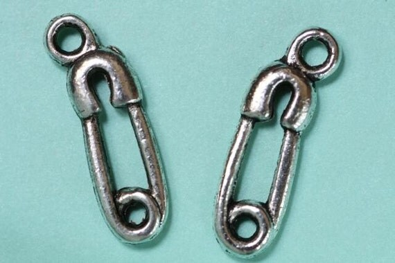 6 Safety Pin Charms - Metal - Silver Antiqued Tone