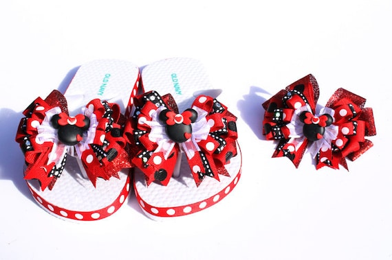 Disney  Red Custom Boutique MInnie Mouse ribbon flip flops...Matching hair bow available in shop.