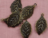 FF-600-41  12 Pcs  Antique Brass  Leaf  Filigree, NICKEL FREE