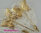 8Pcs  Golden Plated  Butterfly  Stick Pin -Nickel Free.