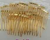 HC-01-08GD  10pcs Gold Plated Hair Comb w/ 8 Pin. NICKEL FREE