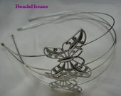 HB-06Si   2pcs Silver Plated W/Butterfly Filigree HeadBand,Nickel Free.