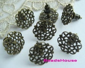 20%off 10pcs Antique Bronze Earring Posts With15mm Filigree And Ear Studs Back Stoppers.Nickel Free