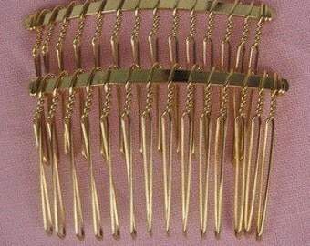 HC-01G - 6pcs Gold Plated Hair Comb W/14 teeth, NIickel  Free