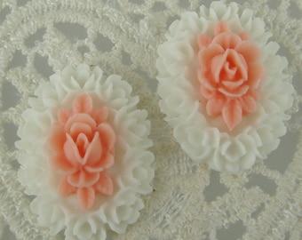 418-PK-CA  6pcs Oval Roses Cabochon - White/Pink