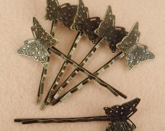 HC-27ANT 10pcs  Antique Brass Bobby Pin W/Little Butterfly Filigree, NICKEL FREE