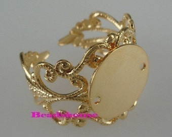 RR-700-12mm-GD  10pcs  Adjustable Gold Plated  Filigree  Ring W/ 12mm  Blank